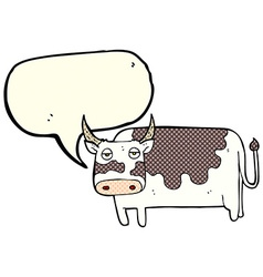 Cartoon cow with speech bubble vector