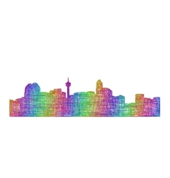Calgary skyline silhouette - multicolor line art vector