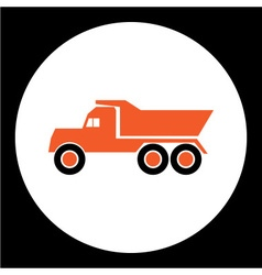 Simple orange dump truck car isolated icon eps10 vector