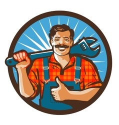 Plumbing services plumber holding a wrench vector