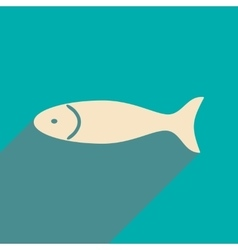 Flat with shadow icon and mobile applacation fish vector
