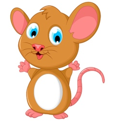 Happy fat mouse cartoon posing vector