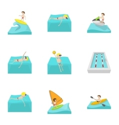 Active water sport icons set cartoon style vector image