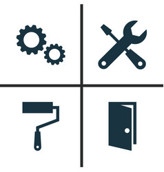 architecture icons set collection of paint roller vector image vector image