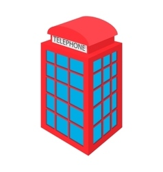 British red phone booth icon cartoon style vector image