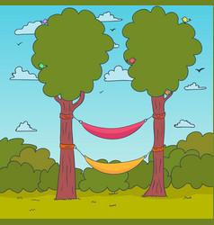 cartoon nature background hammocks on a tree vector image