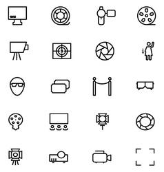 Cinema line icons 6 vector