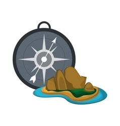 compass and tropical island icon vector image vector image