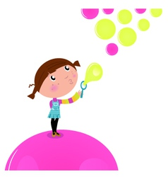 cute little kid blowing soap bubbles vector image vector image