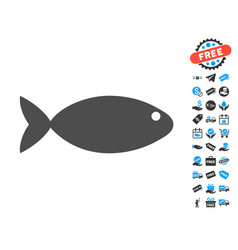 Fish flat icon with free bonus elements vector