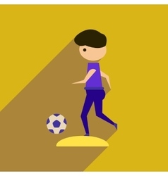 Flat web icon with long shadow football player vector
