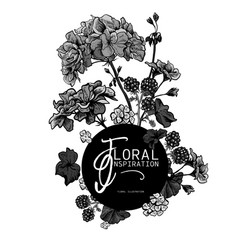 Floral monochrome greeting card with blooming vector