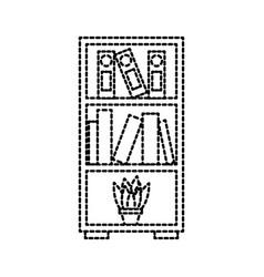 furniture bookcase books folder and pot plant vector image