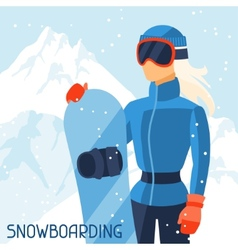Girl snowboarder on mountain winter landscape vector