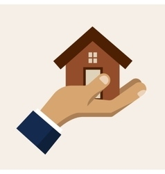 Hand holding a house insurance service vector