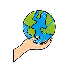 hand holding planet earth ecological environmental vector image