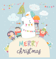 Happy children celebrating christmas vector