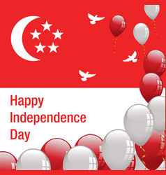 Happy independence day singapore banner vector
