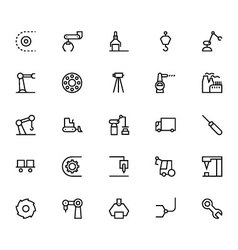 Industrial Processes Line Icons 4 vector image