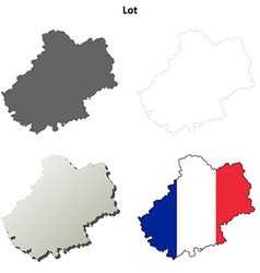 Lot midi-pyrenees outline map set vector