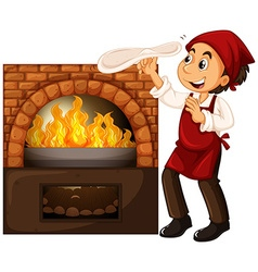 Male chef making pizza with stone oven vector image