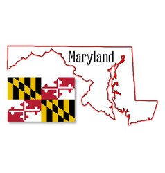 maryland state map and flag vector image