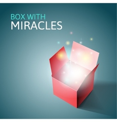 Open gift box with light vector image
