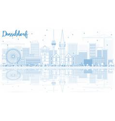 Outline dusseldorf skyline with blue buildings vector