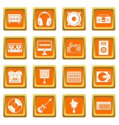 Recording studio items icons set orange vector