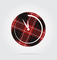 red black tartan isolated icon last minute clock vector image vector image