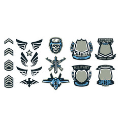 set of military and military badges emblems vector image vector image