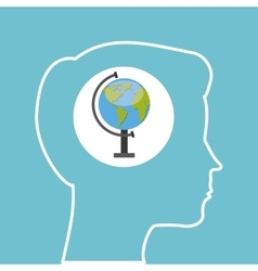 Silhouette head boy globe education online vector