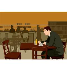 Waiting at cafe vector