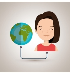 Woman cartoon globe planet connected vector