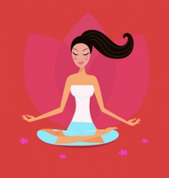 yoga girl in lotus position vector image vector image