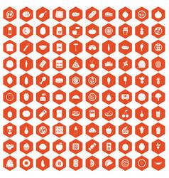 100 nutrition icons hexagon orange vector image vector image