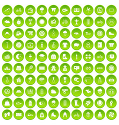 100 woman shopping icons set green circle vector