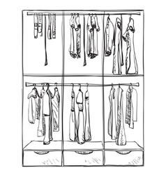 Wardrobe sketch room interior with clothes vector