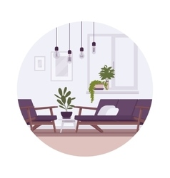 Retro interior with lamps sofa armchair plants vector