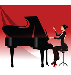 Lady playing piano vector