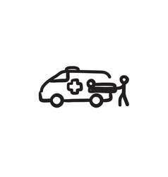 Man with patient and ambulance car sketch icon vector