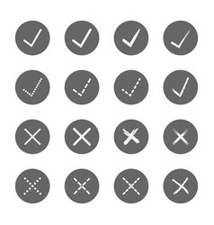 check mark right and wrong icons set vector image