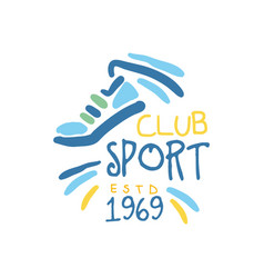Sport club since 1969 logo symbol colorful hand vector