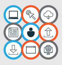 Set of 9 world wide web icons includes pc vector