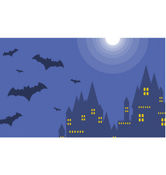 Halloween dark castle at night landscape vector