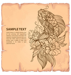 hand drawn outline koi fish with flower japanese vector image