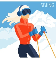 Girl skier on mountain winter landscape background vector