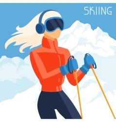 Girl skier on mountain winter landscape background vector image