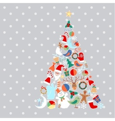 Christmas tree with toys and objects vector