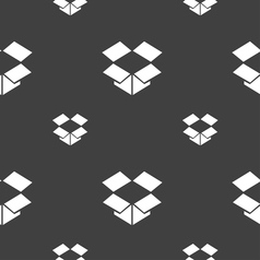 Open box icon sign seamless pattern on a gray vector